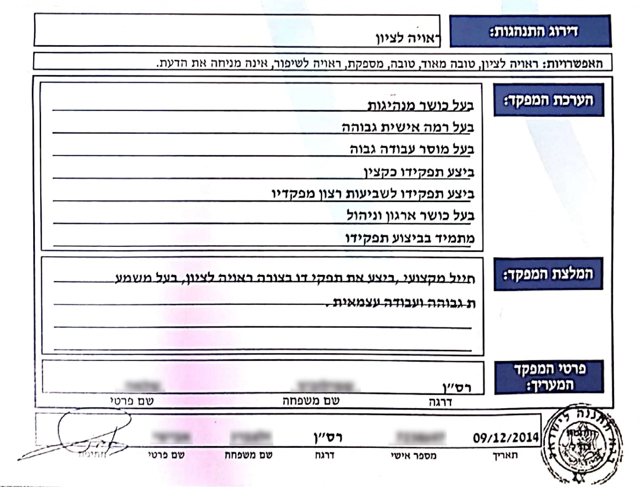 תעודת ערכת מפקדו של יהונתן כהן