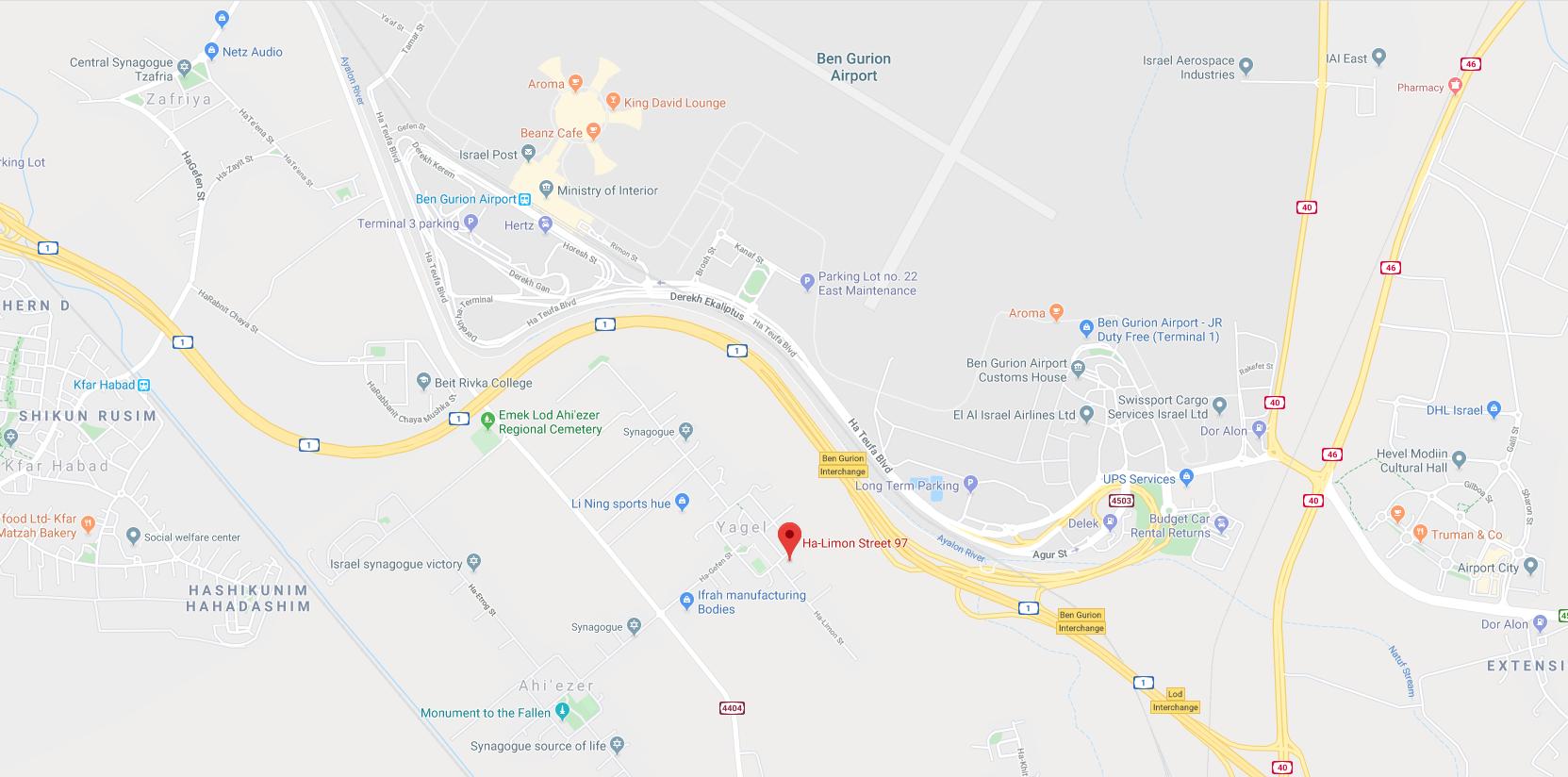 מפת גוגל למושב יגל הלימון 97